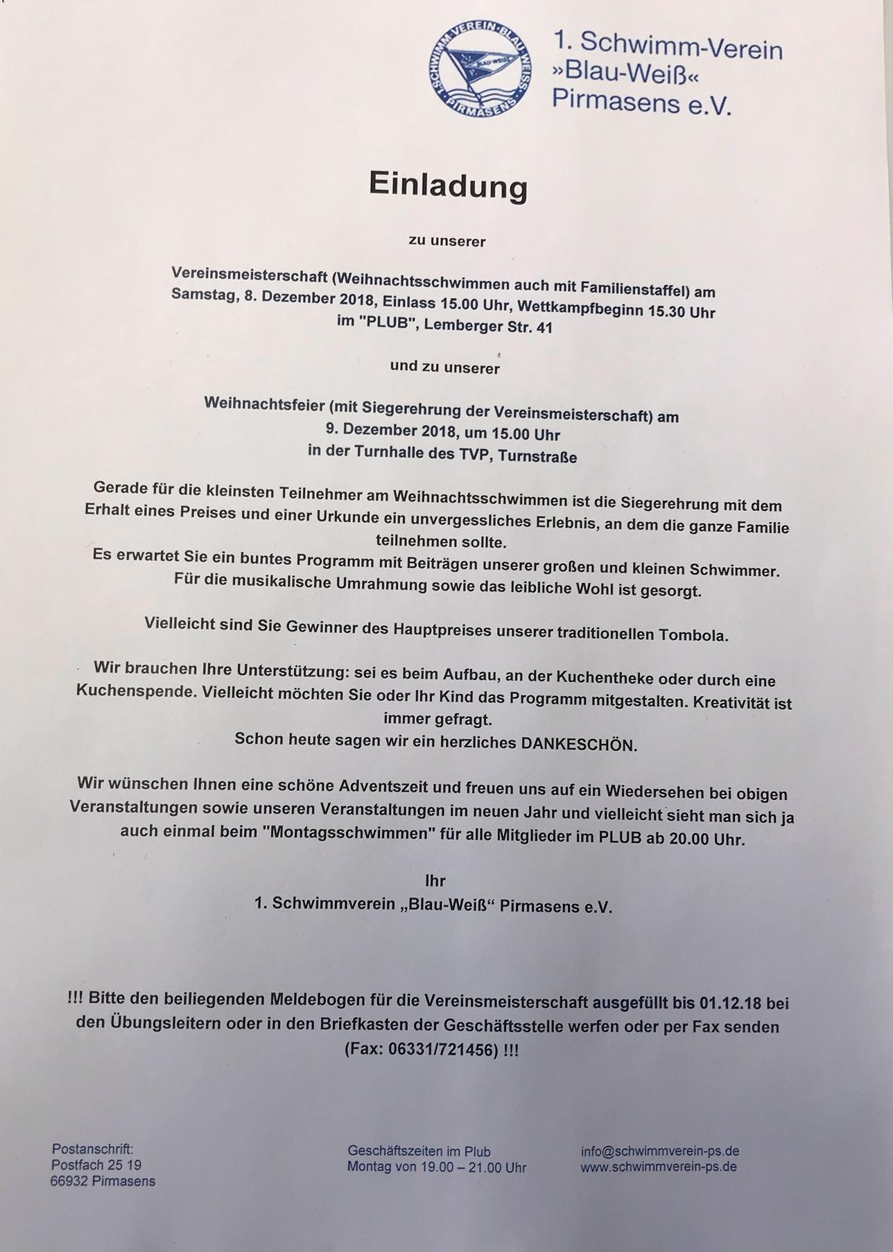 Text Einladung Weihnachtsfeier Verein.Einladung Weihnachtsfeier Und Weihnachtsschwimmen 2018 1 Sv Blau